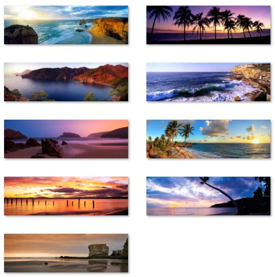 Beaches panoramic wallpapers optimized for dual monitors
