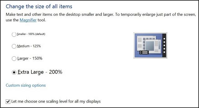 Windows 8.1 control panel display settings