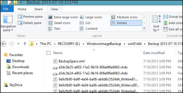 Windows 8.1 Image backup VHDX files