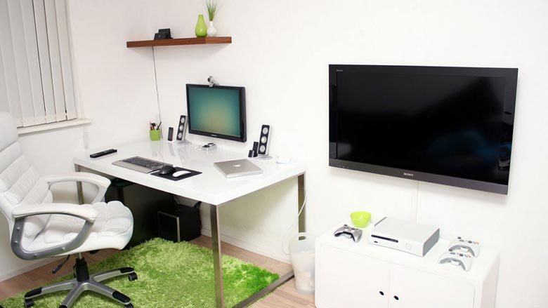 Modern Minimalist Workspace Designed For Work And Gaming