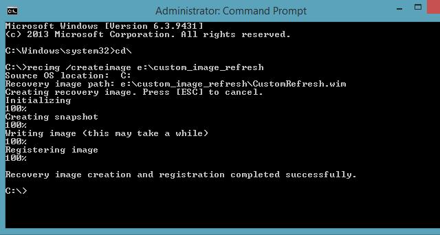 Recimg createimage command line Windows 8.1