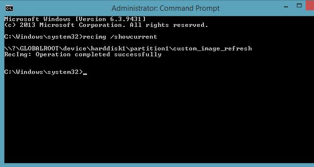 Recimg setcurrent command line Windows 8.1