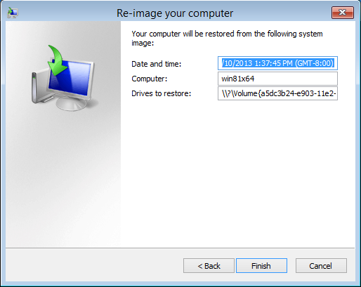 Starting recovery in Windows 8.1