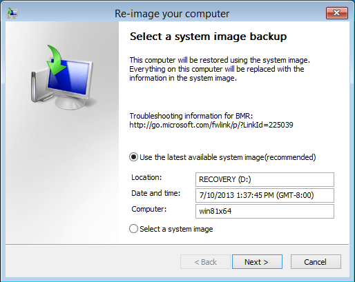 System image backup recovery tool Windows 8.1