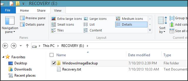 WindowsImageBackup folder in Windows 8.1