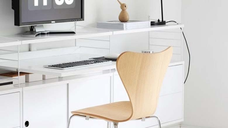 White desk with shelves and cabinets