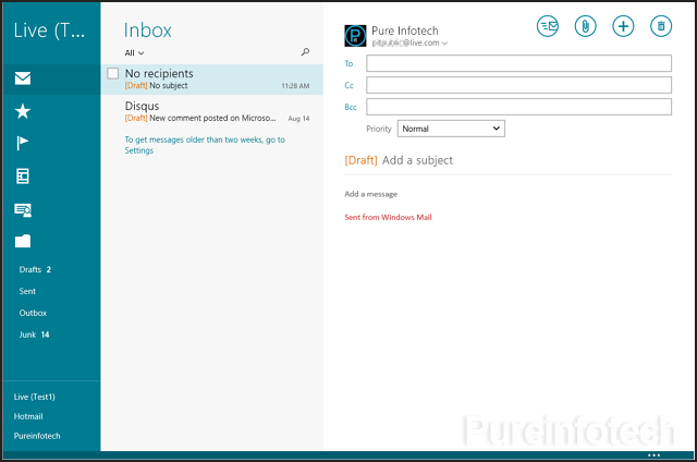 Outlook.com on Windows 8.1 Mail