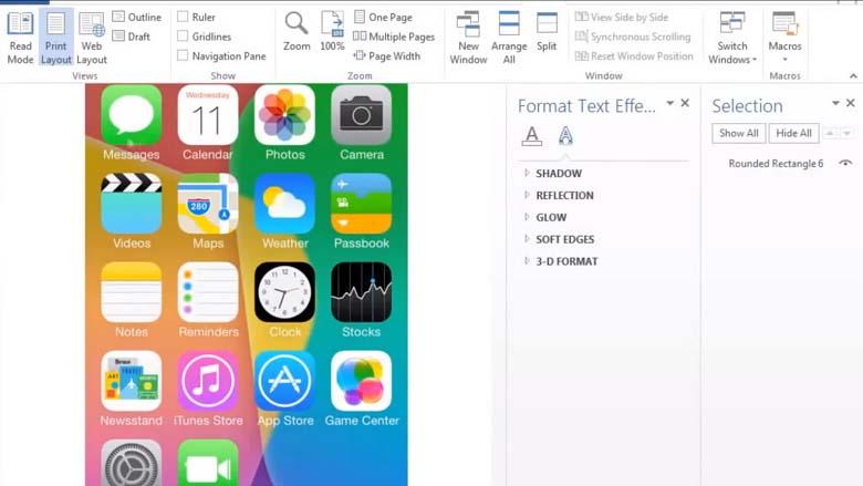 Apple iOS 7 recreated in Microsoft Word