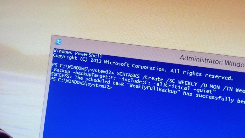 Sheduling a Windows 8.1 System Image Backup