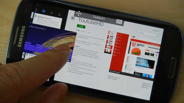 Microsoft Remote Desktop app Windows 8.1 snap view on Android