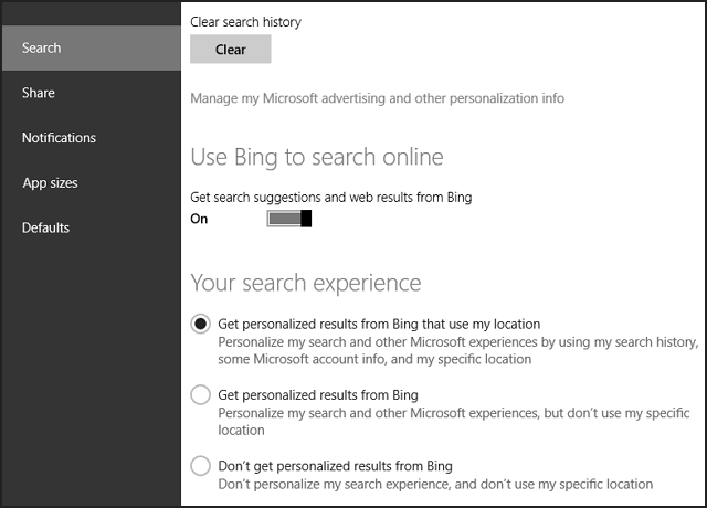 Windows 8.1 search settings