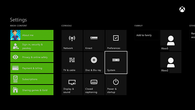 Xbox One System settings
