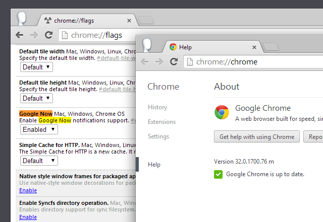 Google Now Chrome 32