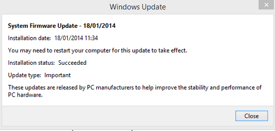Surface Pro 2 firmware update January 2014