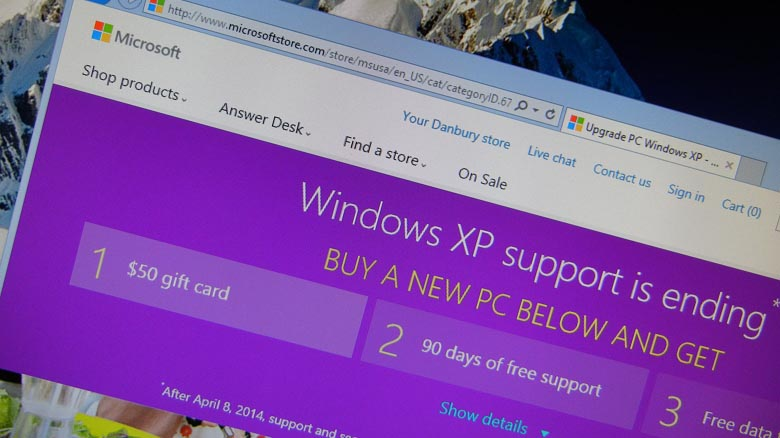 End of support Windows XP Microsoft promotional offer