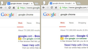 Chrome with and without high DPI settings in Windows 8.1