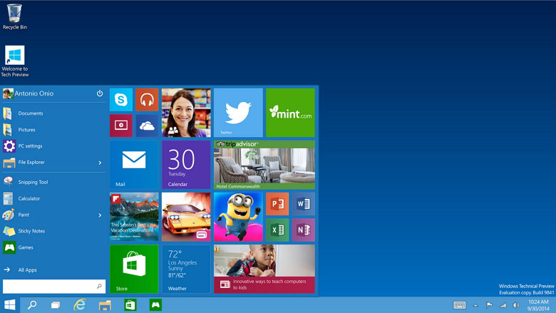Windows 10 desktop with Start menu
