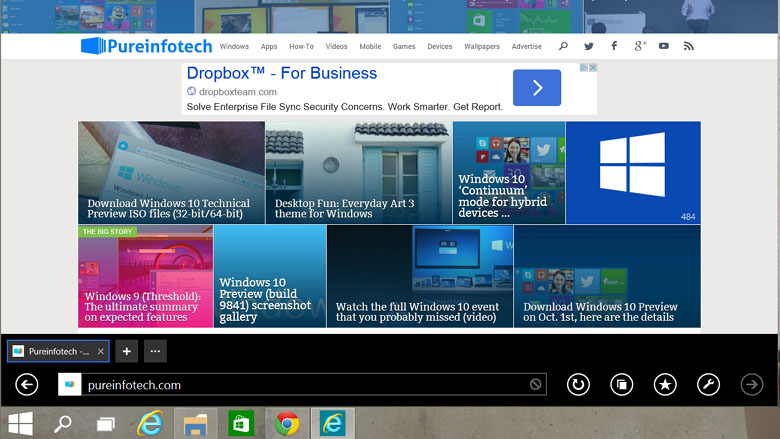 Modern IE enabled in Windows 10 Technical Preview