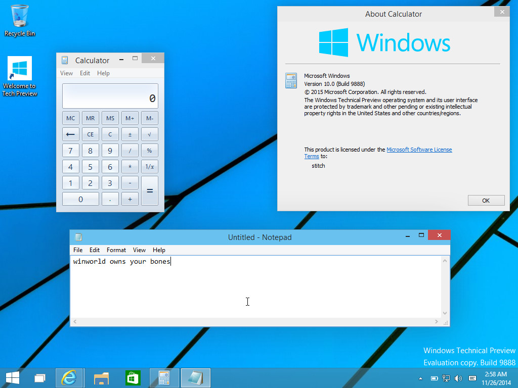Windows 10 Technical Preview build 9888 leaked version