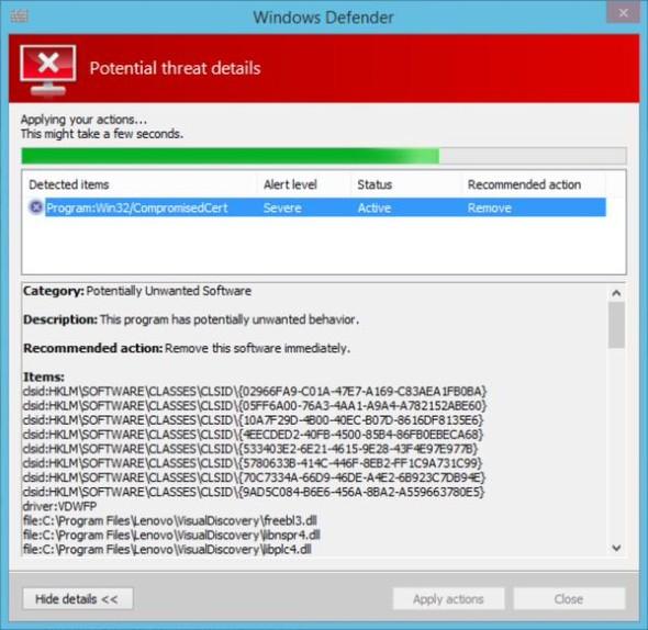 Windows Defender detecting Superfish on a Lenovo Computer