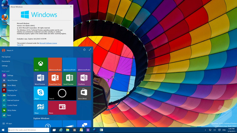 Windows 10 build 10041 desktop with open Start menu