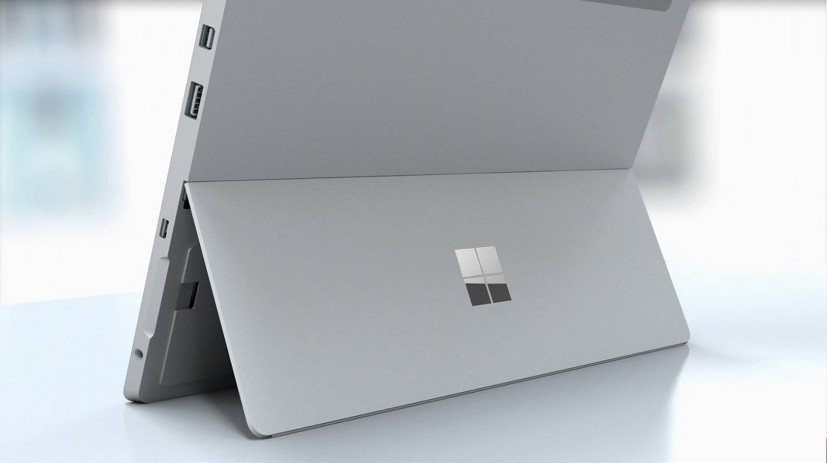 Surface 3 kickstand with Microsoft logo