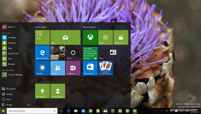 Windows 10 build 10147 desktop