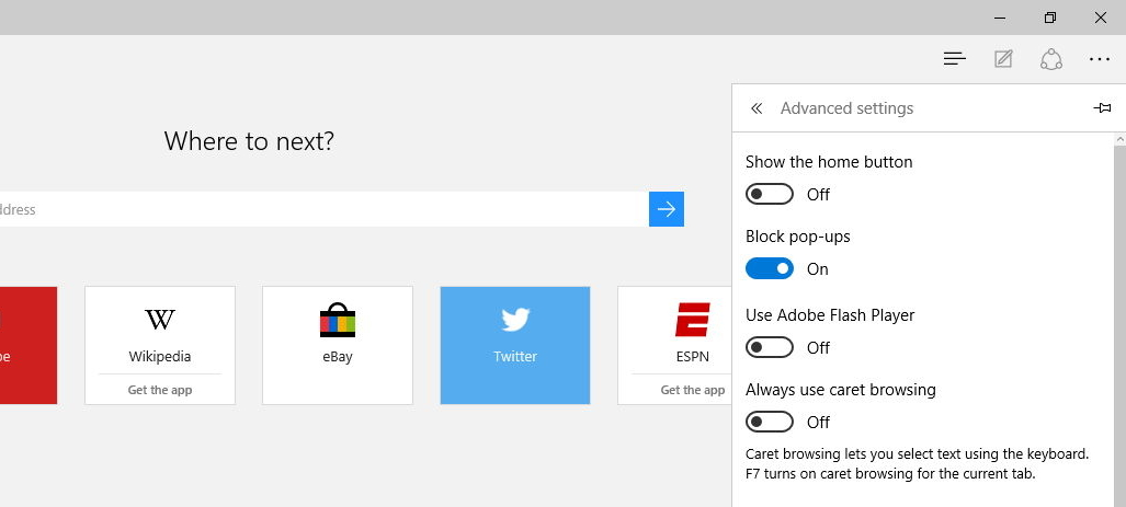Disable Adobe Flash Player on Microsoft Edge