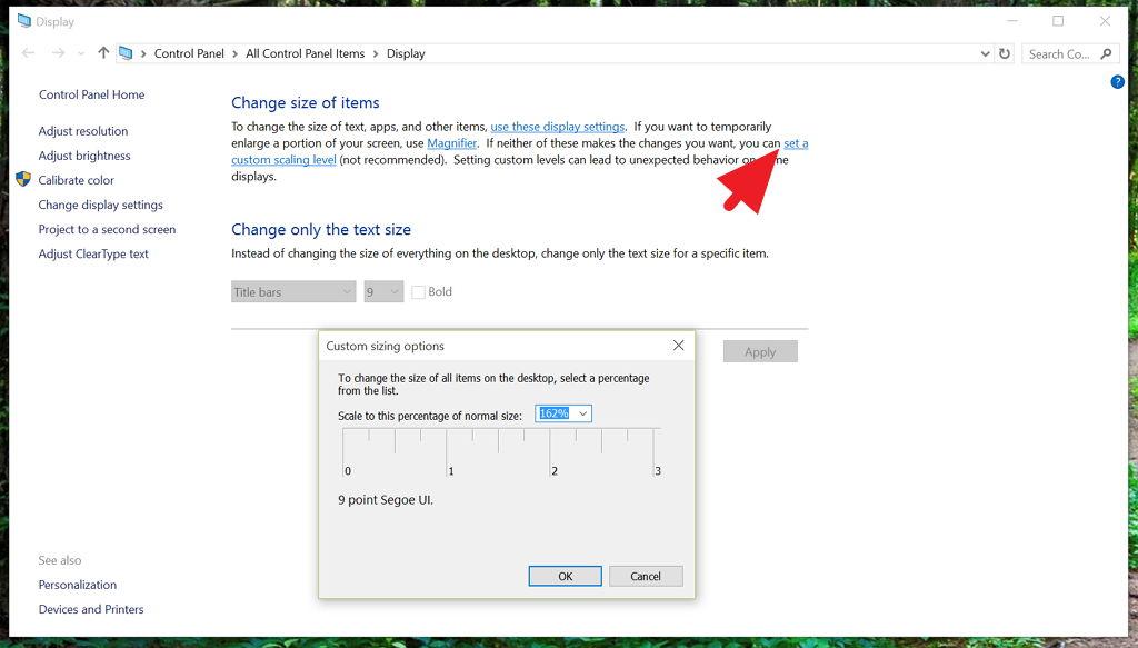 Custom DPI settings in Control Panel  on Windows 10