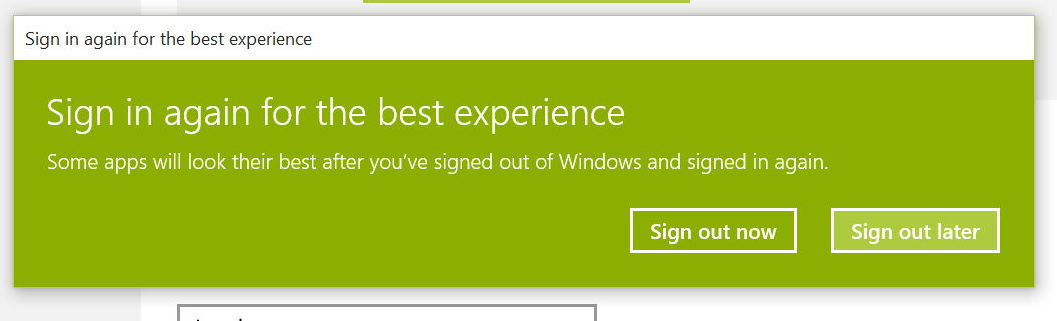 Sign out and sign back in Windows 10