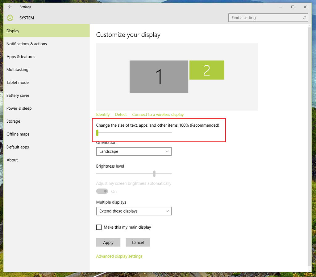 Windows 10 DPI scaling settings