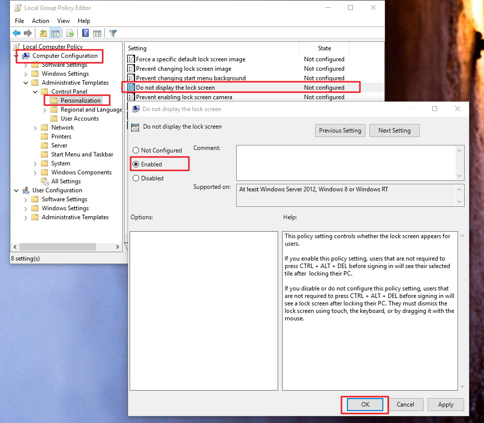 Don not display the lock screen in Windows 10 Group Policy