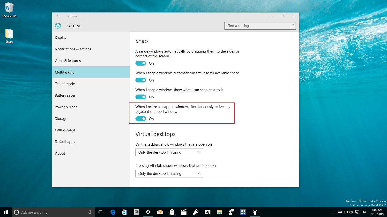 How to resize two snapped windows at the same time on for Window resize