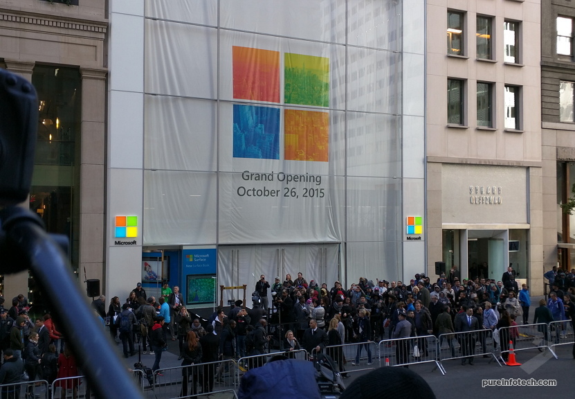 Press bus with a view to the Microsoft Store NYC 2
