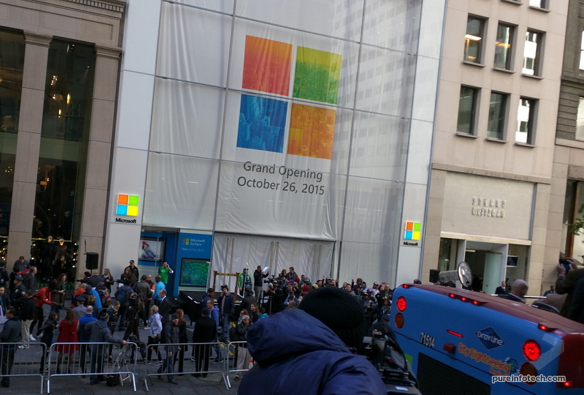 Press bus with a view to the Microsoft Store NYC