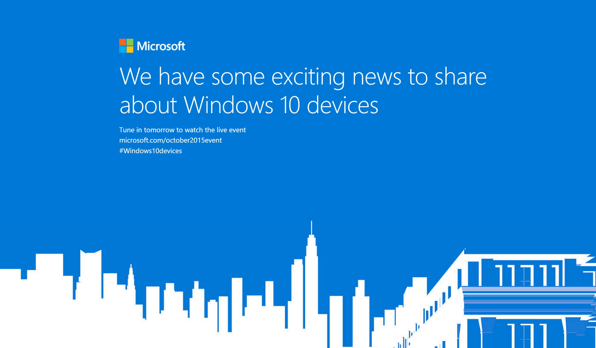Windows 10 devices event October 6, 2015
