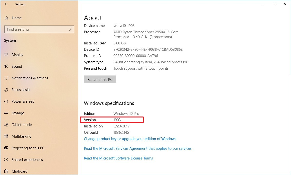 Settings About check Windows 10 version number