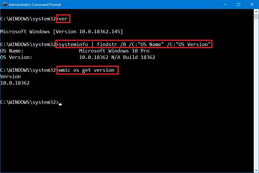 Check version of Windows 10 using Command Prompt