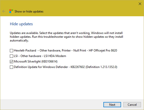 List of updates to hide from reinstalling in Windows 10