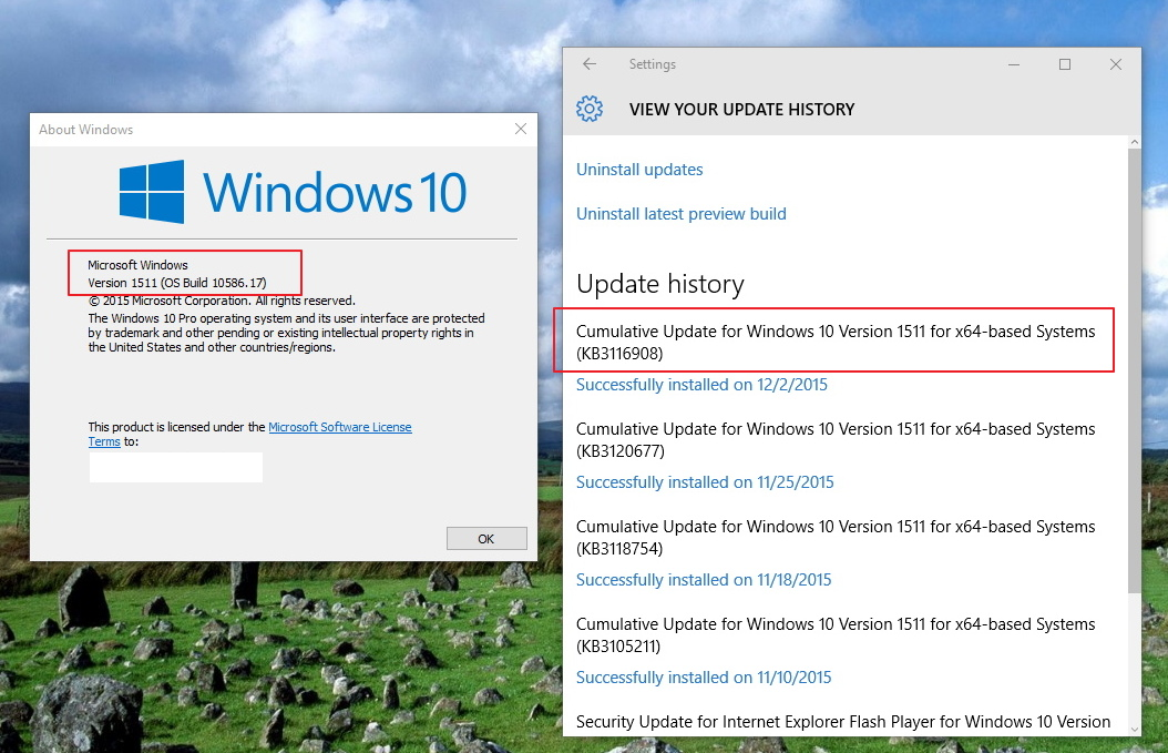 kb3116908 Windows 10 Cumulative update (build-10586.17)