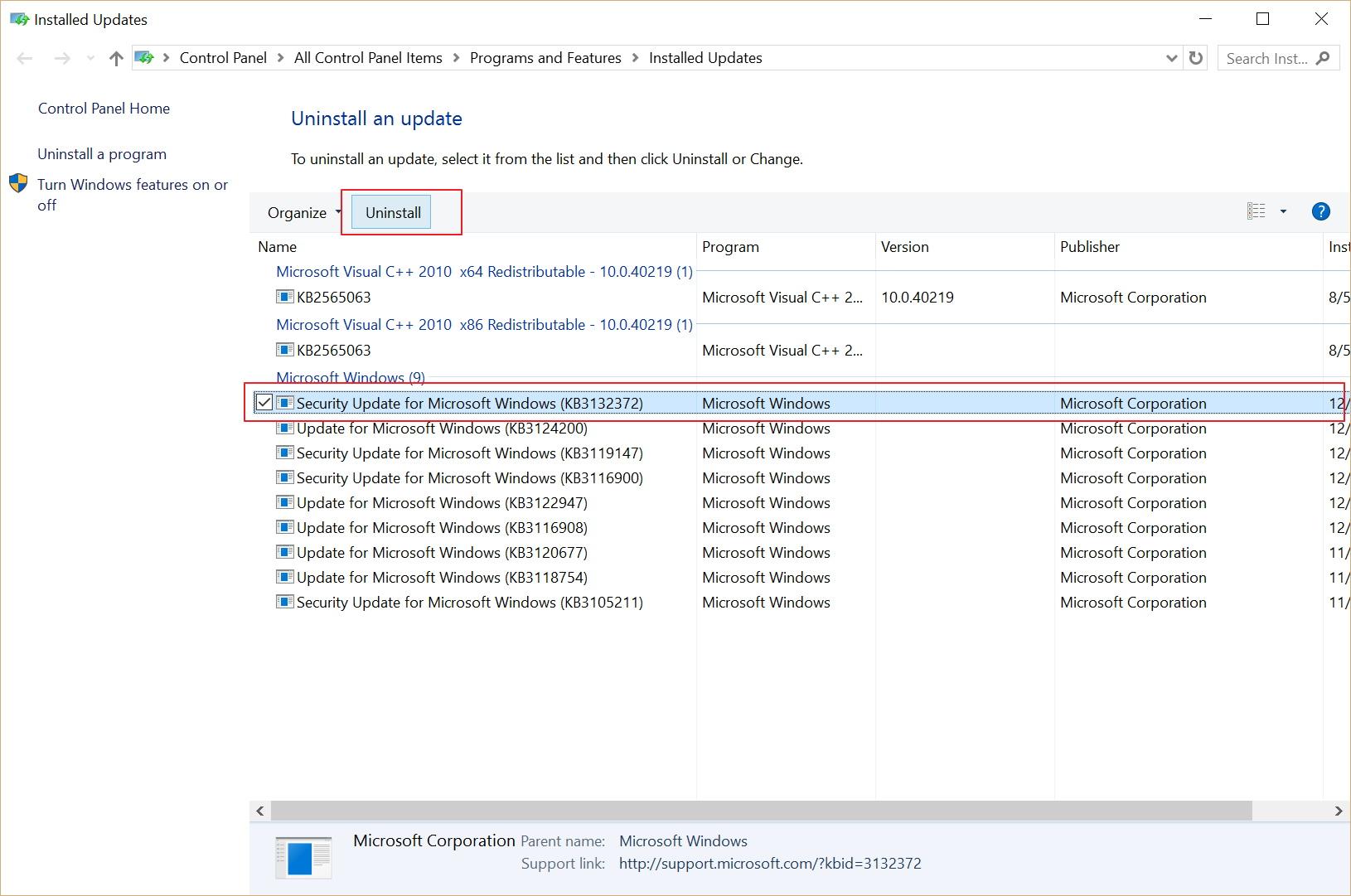 Uninstall a Windows update