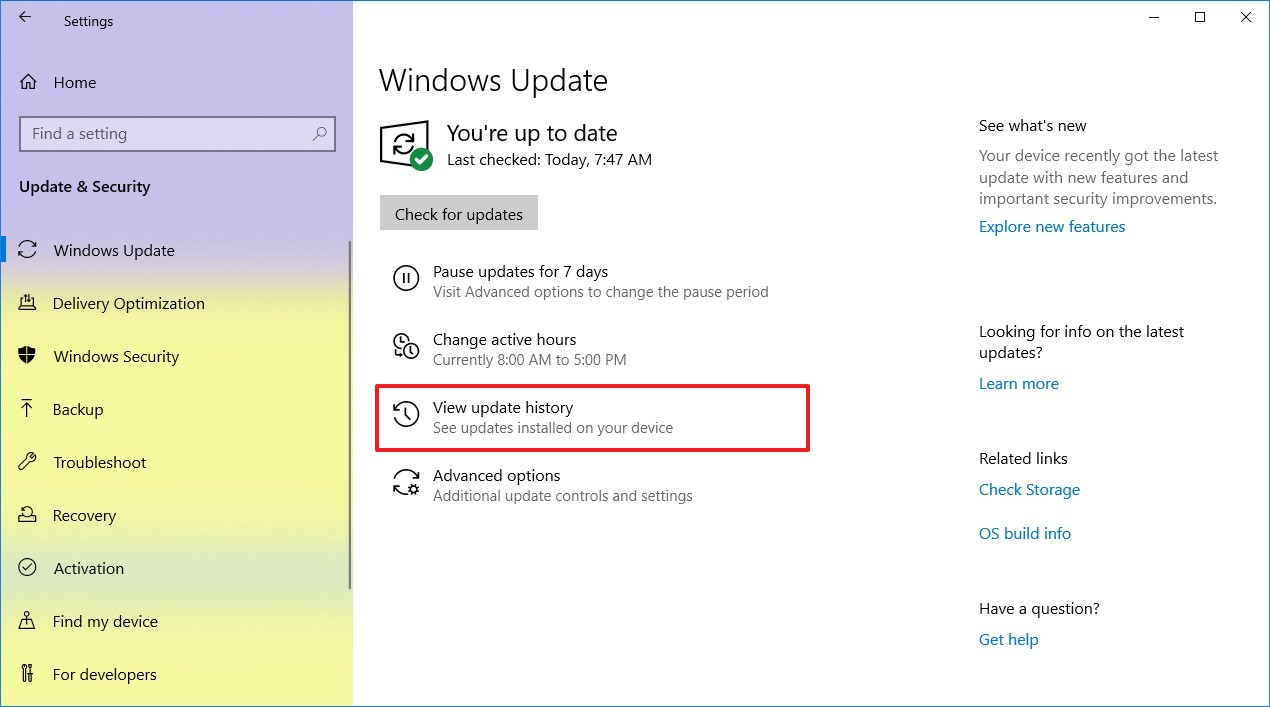 View update history option on Windows 10