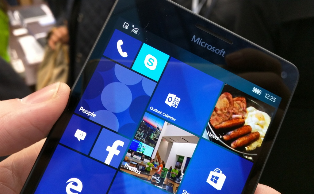 Windows 10 Mobile running on a Lumia 950 in the Microsoft Store NYC