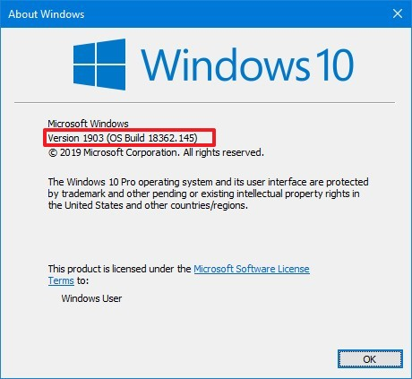 Windows 10 winver command version check