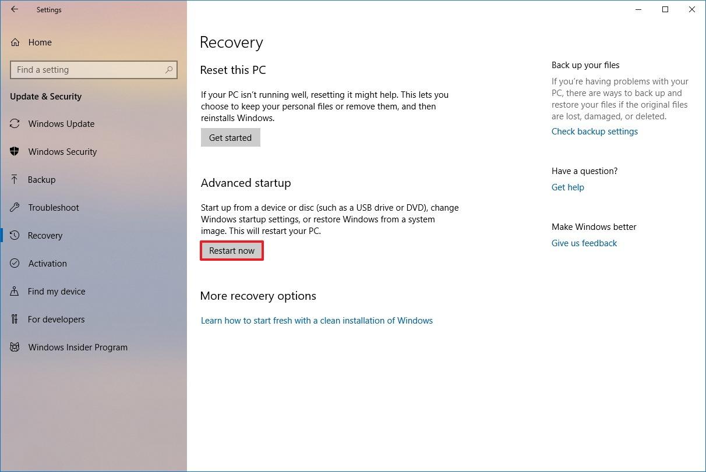 Windows 10 Advanced Startup settings