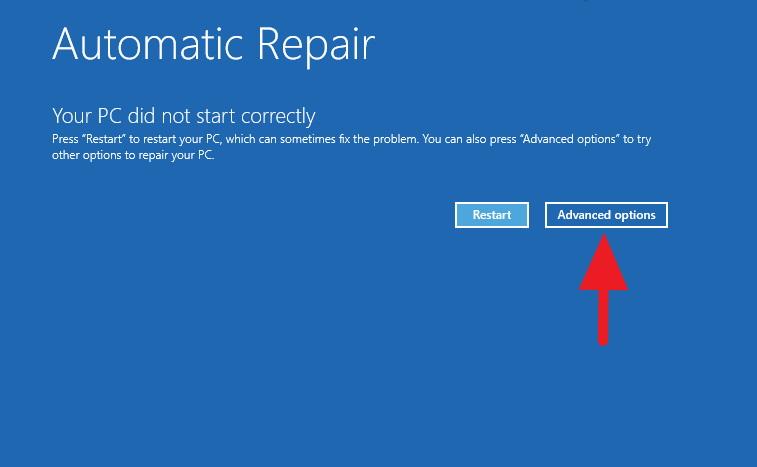 Automatic Repair - Advanced options