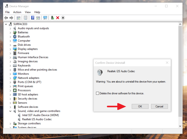 Confirm device uninstall on Device Manager