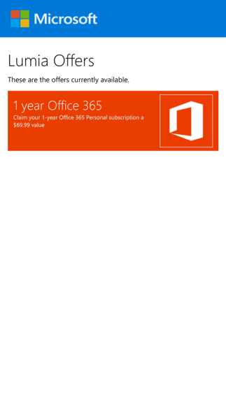 Lumia Offers - Office 365 Personal promotion