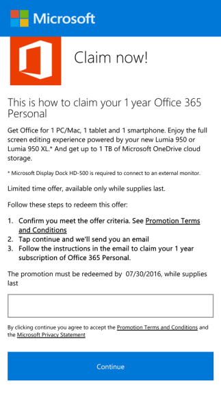 Office 365 Personal for Lumia 950 and Lumia 950 XL