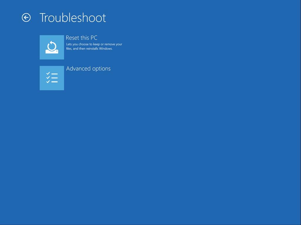 Troubleshoot menu (Advanced Startup)